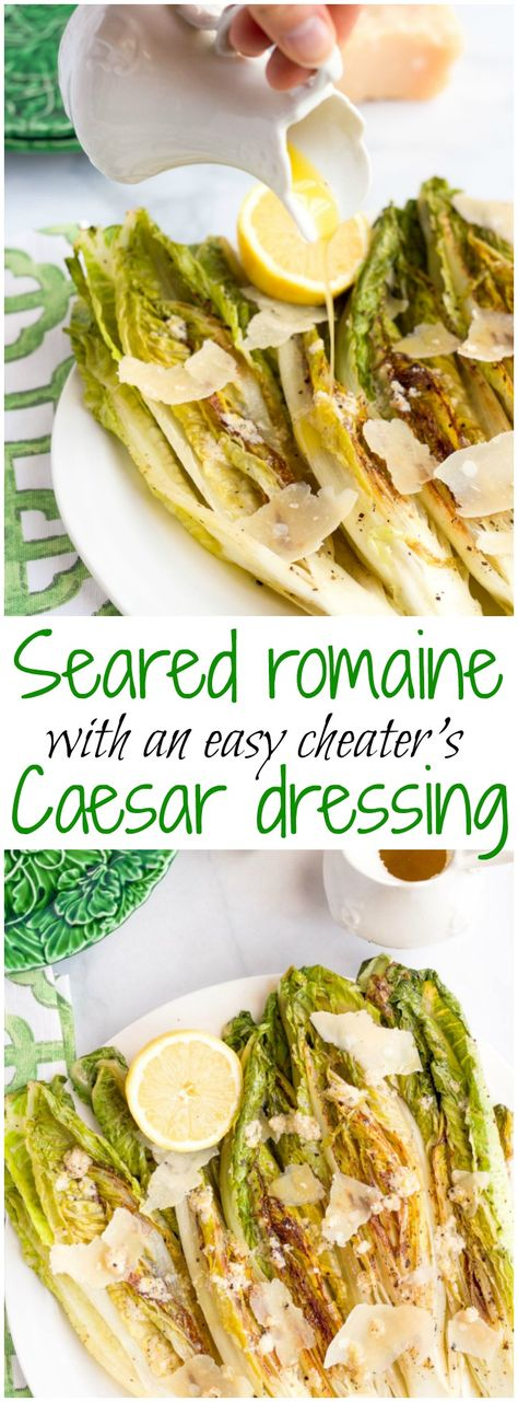 Easy seared or grilled romaine salad with cheater's Caesar dressing - great summer side! | FamilyFoodontheTable.com