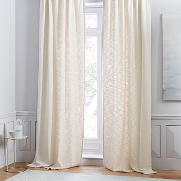 Cotton Textured Weave Curtain Stone White Westelm Curtains
