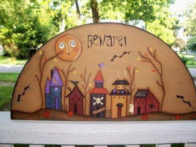 Halloween Door Crown-Design Martha Smalley | Primgals Primitive Palette on Etsy | Pinterest | Decorative paintings & Halloween Door Crown-Design Martha Smalley | Primgals Primitive ...