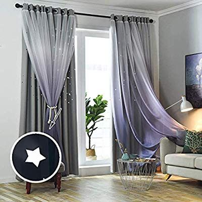 Amazon Com Bgment Moon And Stars Blackout Curtains For Kids Bedroom Grommet Thermal Insulated Room Darkening Printed Nursery Curtains 2 Panels Of 52 X 84 Inch Greyish White Home Kitchen