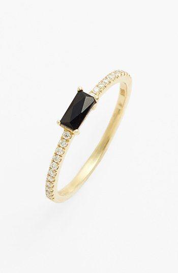 Bony Levy Stackable Black yx Baguette & Diamond Ring Nordstrom