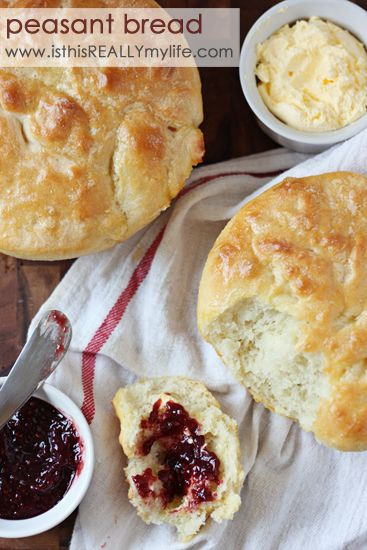 Peasant bread recipe -- a very basic, no-fail bread recipe that bakes right in the bowl in which it was rising. This is a family favorite. We make it weekly! #bread #recipe #peasantbread via isthisreallymylife.com