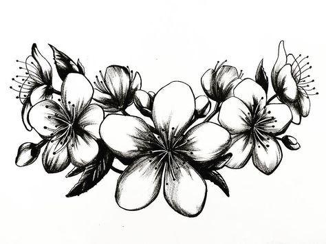 Flores De Cerezo Tattoo Sakura Ink Black Design Draw Drawing Illustration Instaart Art Artis Cerezo Tattoo Tatuajes De Flor De Cerezo Flor De Cerezo