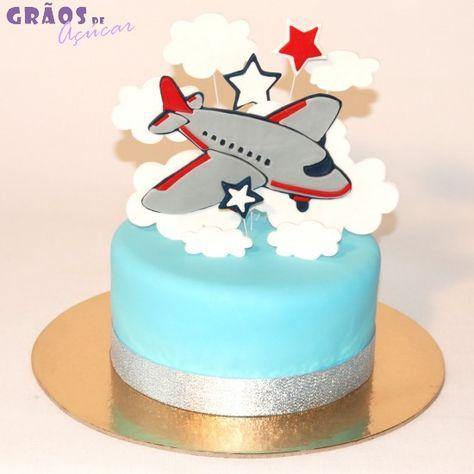 Avião   Simples   bolo aniversario simples   Grãos de Açúcar - Bolos  decorados - Cake Design 54e2a413c1