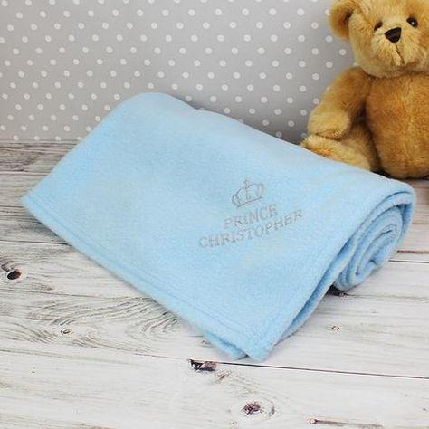 Personalised Baby Boys Blue Fleece Blanket Embroidered Custom Name