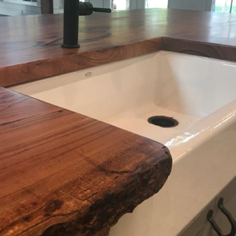 Pecan Live Edge Counter Top With Farmhouse Sink Kitchens Live