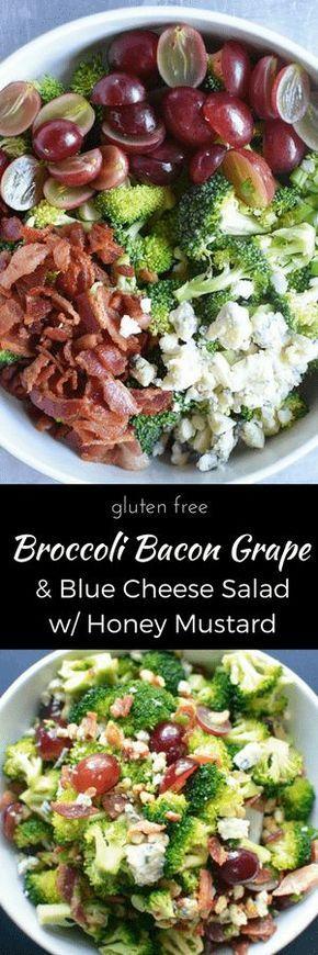 Everyone LOVES Broccoli Bacon Grape Blue Cheese Salad with Honey Mustard Vinaigrette! Gluten-free. thekitchengirl.com #broccolisalad #honeymustard #summersalad #partyfood #broccolibacon #baconbluecheese #bluecheese #lowcarb