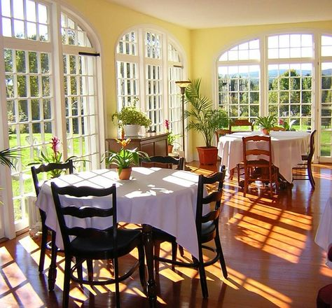 The stunning, sun-filled breakfast room seats 14 guests comfortably at individual tables at Centennial House Bed and Breakfast in Northfield MA. Massachusetts, B & B, Dreams Beds, Simple Bed, House Beds, Cozy Bed, Outdoor Furniture Sets, House Plans, Sweet Home