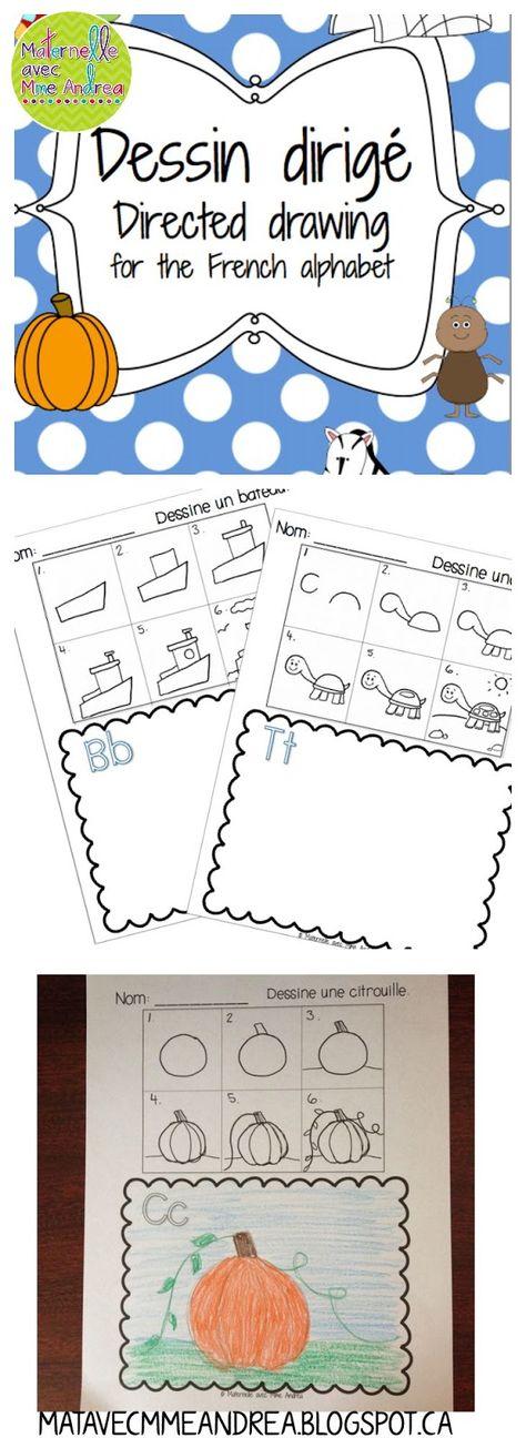 Dessin dirigé - aidez vos élèves à apprendre les lettres de l'alphabet ET à faire les dessins plus détaillés! $