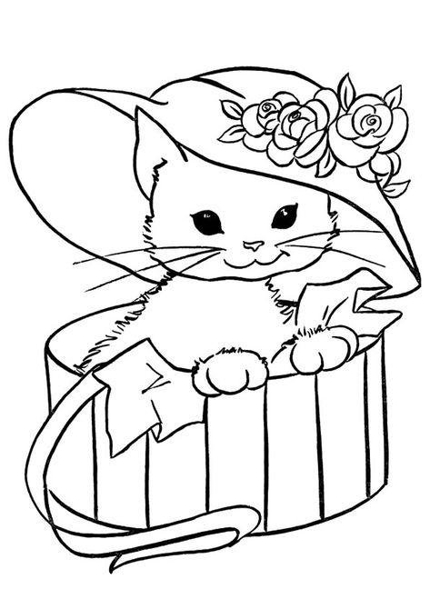 Disegni Di Gatti Da Colorare E Stampare Gratis Gattina Con