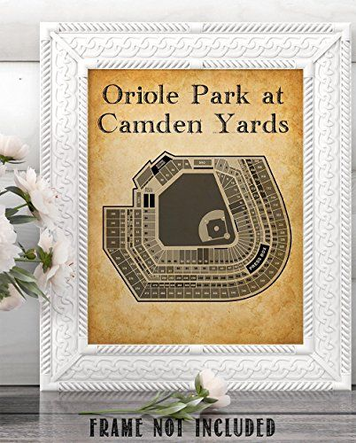 Oriole Park At Camden Yards Baseball Seating Chart 11x14 Unframed Art Print Great Sports Bar Decor And Gift For Baseb Sports Bar Decor Camden Yards Orioles