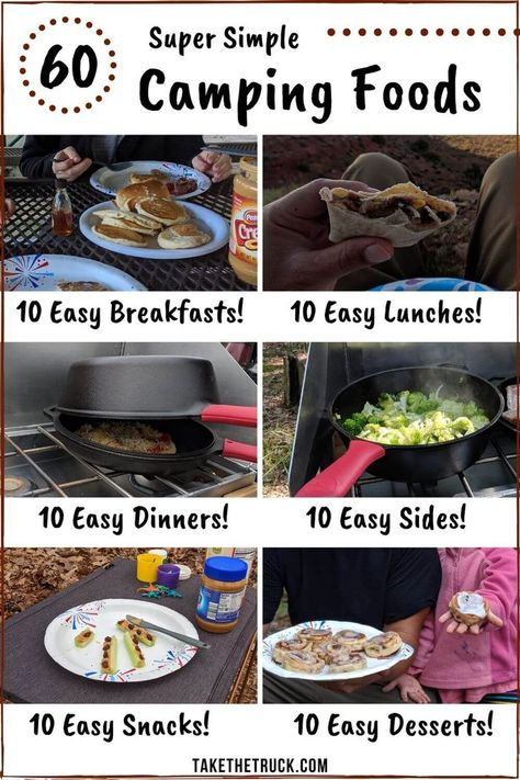 If you're looking for simple camping meals and food ideas, head over to this post! 60 easy camping foods are organized into 10 easy camping breakfasts, 10 camping lunches, 10 easy camping dinners, plu Camping Desserts, Camping Lunches, Camping Foods, Easy Desserts, Make Ahead Camping Meals, Backpacking Food, Best Food For Camping, Backpack Camping, Camping Activities