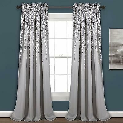 Details About Set 2 Gray Grey White Floral Vines Curtains Panels