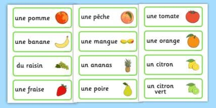تعلم اسماء الفوكه بالفرنسية مترجمة بالعربية مع اللفض Les Fruits En Francais Avec Image تعلم اللغة الفرنسي Word Cards French Vocabulary Vocabulary Flash Cards