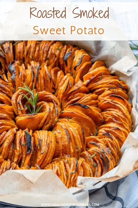 Healthy Roasted Smoked Sweet Potatoes Recipe | Thinly sliced and full of flavor| www.healthyfitnessmeals.com | Smoked sweet potatoes | Roasted sliced sweet potatoes| Roasted sweet potato recipe | #sweetpotatoes #roastedsweetpotatoes #healthyrecipe. via @healthyfitnessmeals