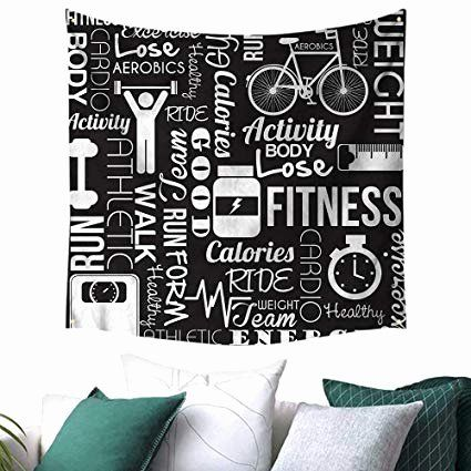 Living Room Interior Quotes Lovely Amazon Luckyee Fitness Square Tapestry Active Life Quote Icons Pictures for living room amazon