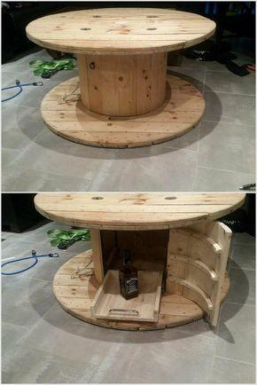 idée originale de table de touret bois | home | Table exterieur bois ...