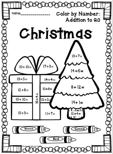 Christmas Color By Addition Kids Math Activities Holiday Worksheets Christmas Worksheets