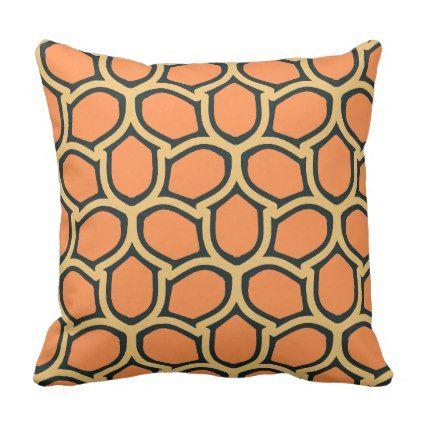 Warm orange retro throw pillow   Zazzle