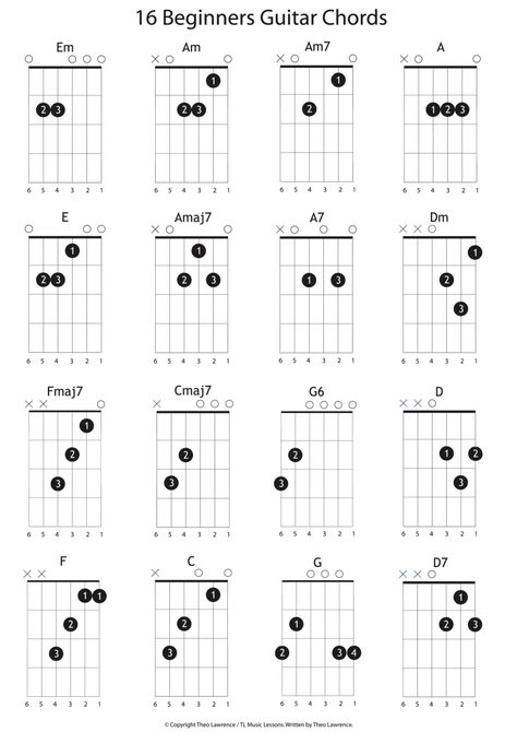 16 Beginners Guitar Chords - Learn Guitar For Free Guitar Lessons For Kids, Guitar Songs For Beginners, Electric Guitar Lessons, Guitar Chords Beginner, Guitar Chords For Songs, Guitar Chord Chart, Guitar Tips, Music Guitar, Electric Guitar Chords