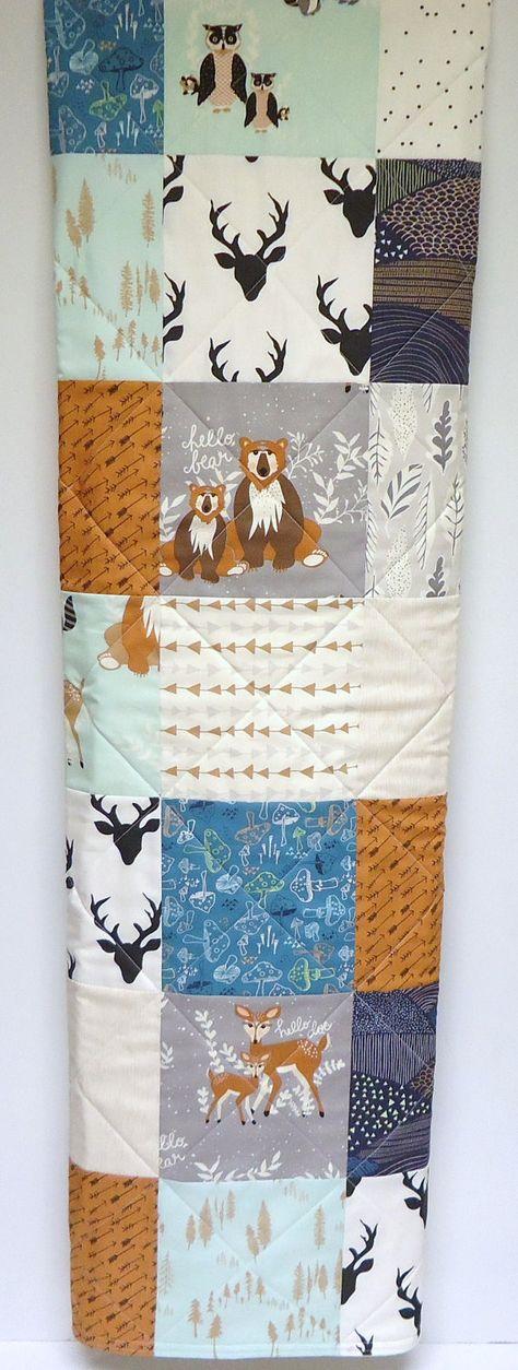 Rustic Baby Quilt-Woodland Baby Boy Krippe Bettwäsche-Hello Bear-Hirsch-Fox Baby Decke-Galerie für moderne Kunst Fabrics-Gray-Mint-Teal-Navy-Arrows