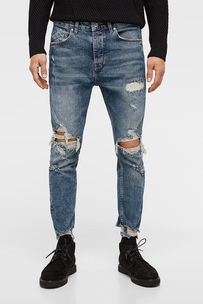 Denim Carrot Fit Rotos Jeans Para Hombre Ropa De Moda Hombre Jeans Hombre Rotos