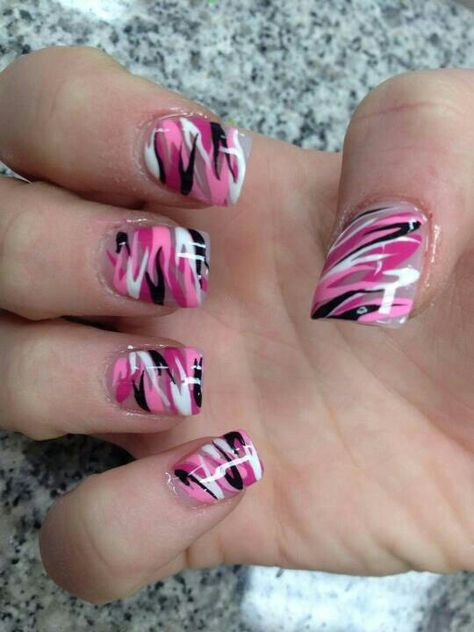 I wouldn't choose these colors, but cute | Hair, nails, etc.. | Pinterest | Pink  camo nails, Camo nails and Pink camo - I Wouldn't Choose These Colors, But Cute Hair, Nails, Etc