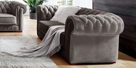 Designer Chesterfield Sofa Samt Silber Grau Barock 2 Sitzer Garnitur Chesterfield Sofa Chesterfield