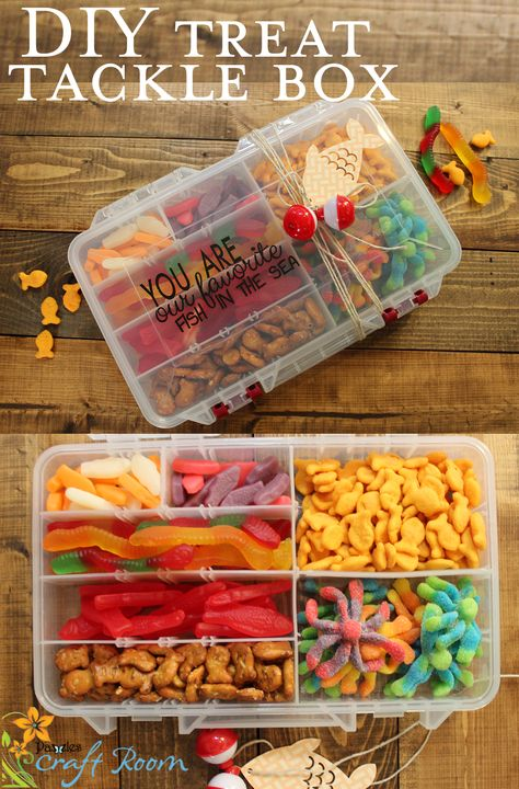 "Treat Tackle Box A tackle box filled with little candy treats and decorated with the text"" You are our/my favorite fish in the sea"" complete with a paper fish and bobbers! A clever, custom, quick and affordable gift that anyone would love! Diy Gifts For Him, Diy Father's Day Gifts, Father's Day Diy, Easy Diy Gifts, Creative Gifts, Homemade Gifts, Little Gifts For Him, Homemade Fathers Day Gifts, Diy Gifts For Boyfriend Just Because"