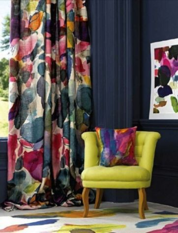 Beautiful Colorful Curtain Ideas To Make Amazing Scenery In Your Home 4811 Living Room Colors Dark Walls Living Room Bright Curtains