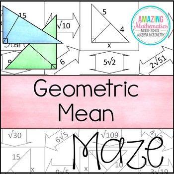 Geometric Mean Maze | | Math • High School | | Maze worksheet ...