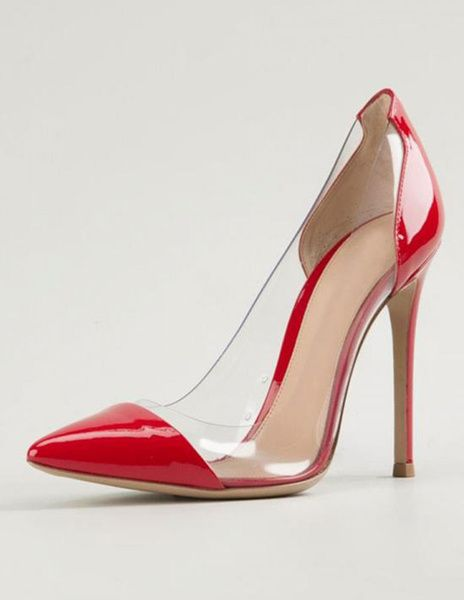 Clear High Heels Red Court Shoes Pointed Toe Stiletto Pumps Shoes ...