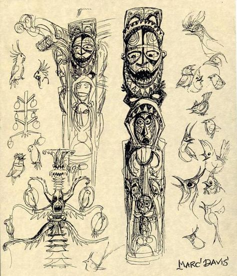 longlivewalt:    Marc Davis Tiki Room concept art. Click thru for more art, and an article that looks at Marc's early career as an Imagineer. Fascinating stuff!
