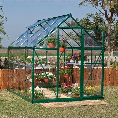 Serre de jardin verte HARMONY 4.5 m², aluminium et ...