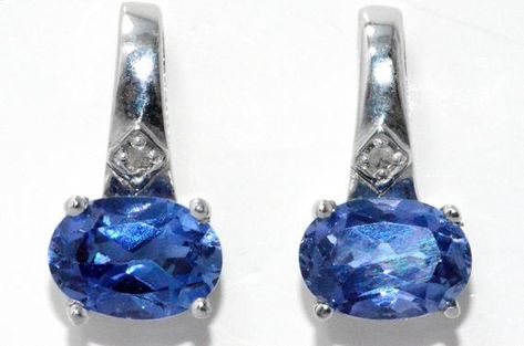2 Ct Simulated Tanzanite /& Diamond Round Stud Earrings .925 Sterling Silver