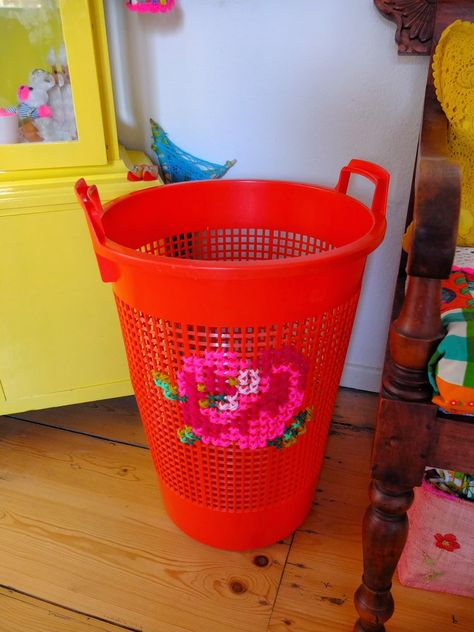 Decorate your washing basket with cross stitch.  Gloucestershire Resource Centre http://www.grcltd.org/scrapstore/