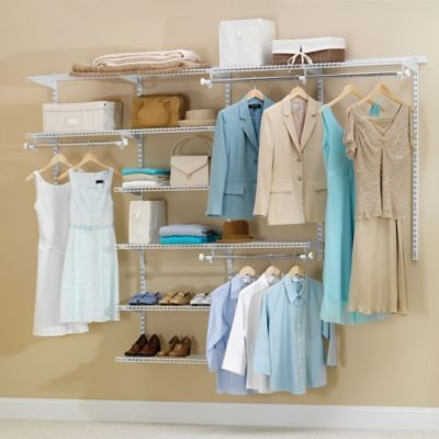 Rubbermaid 4 To 8 Deluxe Closet Organizer Kit In White Cheap