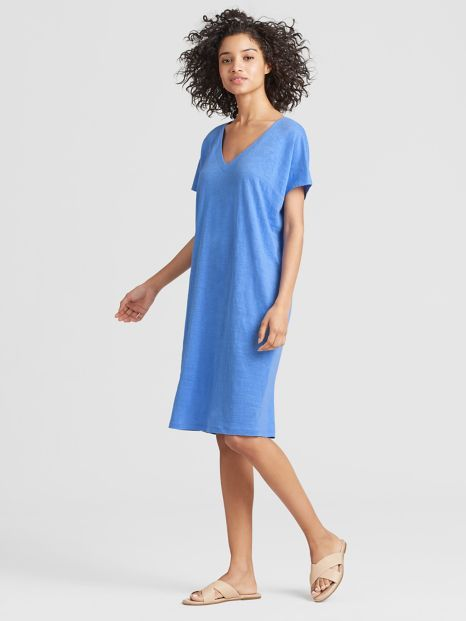 Exclusive Organic Linen Jersey Easy Dress Eileen Fisher Simple Dresses Dresses Organic Linens
