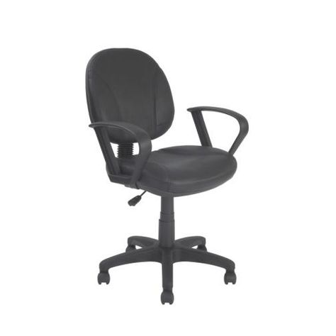 Black Leather Mid Back Operator Chair