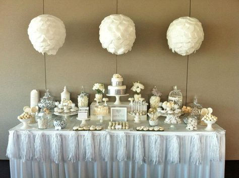 Elegant white sweet table.  Although shown for a wedding, it could easily be created for a First Holy Communion