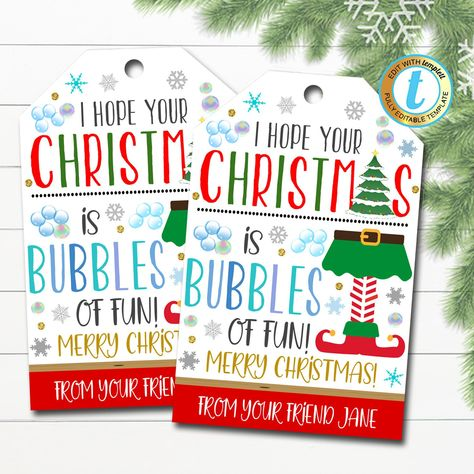 Christmas Gift Tags, Bubbles of Fun Kids Friend Classroom, Holiday Birthday Non Candy Party Favor, DIY Instant Download Editable Template
