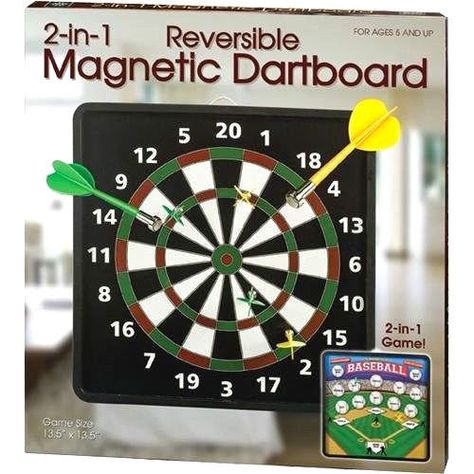 Westminster Magnetic Reversible Dart Board Darts on 1 Side Baseball on Other #Westminster