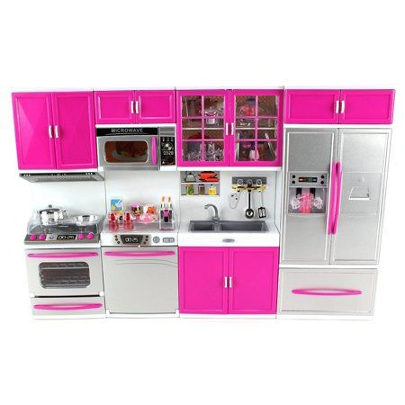 My Modern Kitchen Full Deluxe Kit Operated Kitchen Playset Refrigerator Stove Sink Microwave Toy In 2021 Modern Kitchen Set Kitchen Playsets Barbie Kitchen