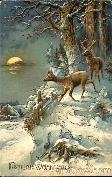 ck deer in winter woods print...looks vintage, lovely
