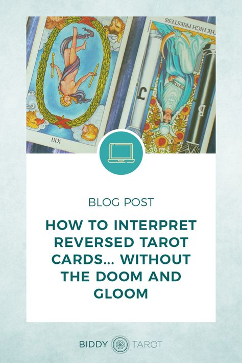Many Tarot readers are dead set against using reversed Tarot cards in their readings; but I LOVE reversed Tarot cards. They bring an extra layer of depth and insight to my Tarot readings that I can't get from upright cards. | If you've avoided reversed Tarot cards in the past, today's the day to breathe new life into reversals and use them in positive and empowering ways in your Tarot readings. | Biddy Tarot | #tarot #biddytarot #reversals #reversedtarotcards #learntarot #everydaytarot