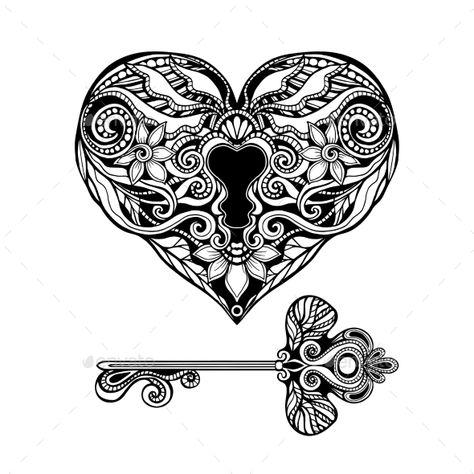 Decorative Key And Lock - Objects Vectors