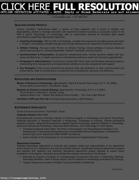 CV Psychology Graduate School Sample -    wwwresumecareer - sports psychologist sample resume
