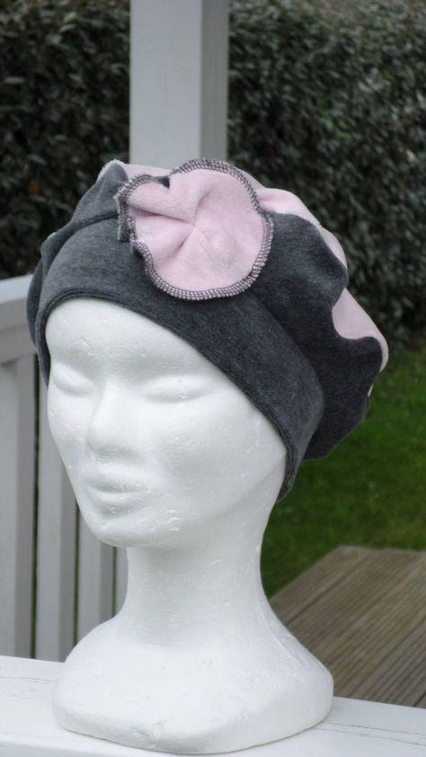 Bonnet chapeau béret  velours  femme  enfant  confortable  unique  lin eva   créateur  gris et rose collection automne hiver doux agréable   Tenue ... 782414bb8bc
