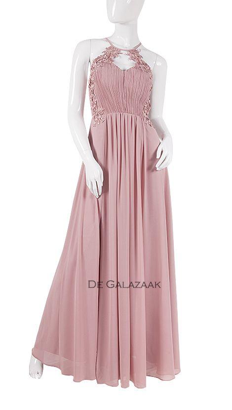 Beste A-lijn galajurk met kanten top in het lichtroze. | Gala jurken YD-21