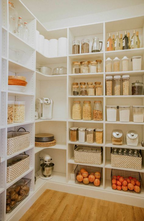 In case you missed the first pantry plan post, here is a quick re-cap! When we first moved into this home we knew we would have to figure out alternative pantry space. Our tiny pantry for a family wasn't quite doing the job for our big family. Tiny Pantry, Pantry Room, Kitchen Pantry Design, Pantry Shelving, Kitchen Organization Pantry, Diy Kitchen Storage, Kitchen Decor, Organization Ideas, Shelving Ideas